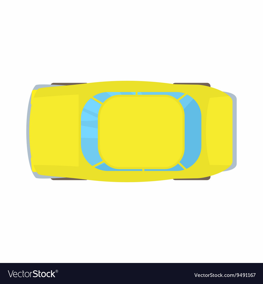 Yellow Car Top View Icon Cartoon Style Royalty Free Vector