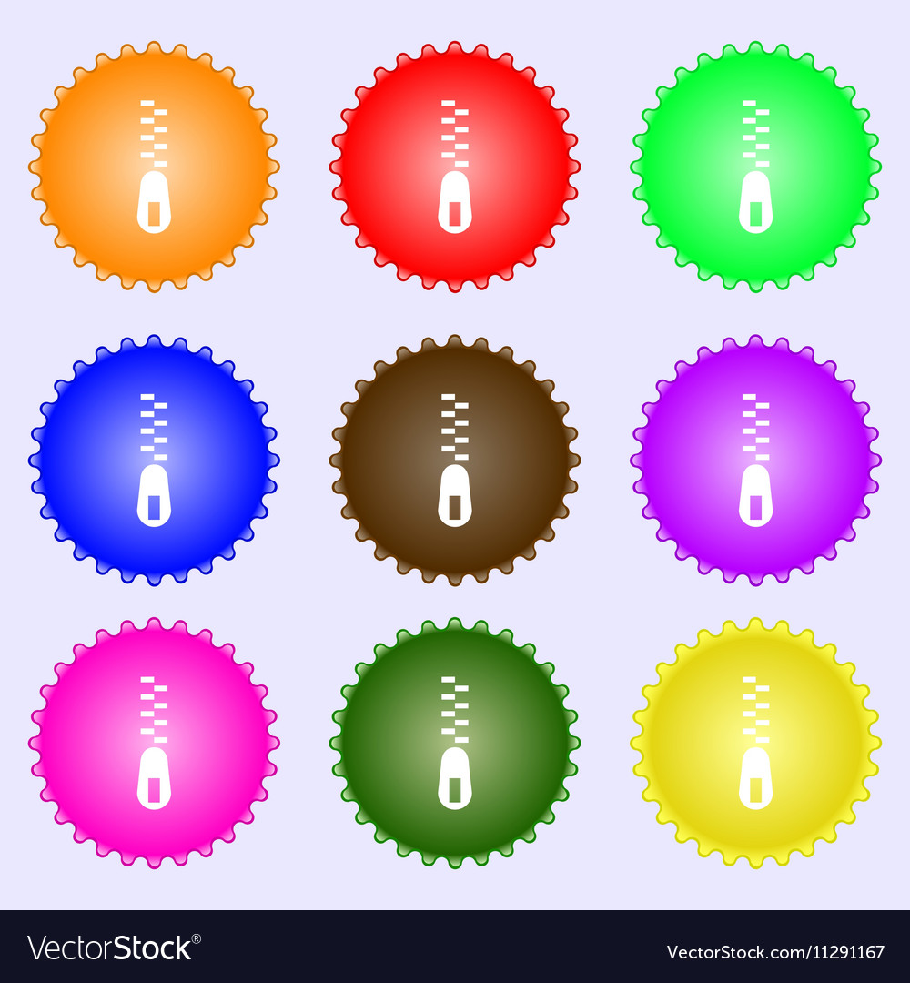 Zipper Icon sign Big set of colorful diverse vector image
