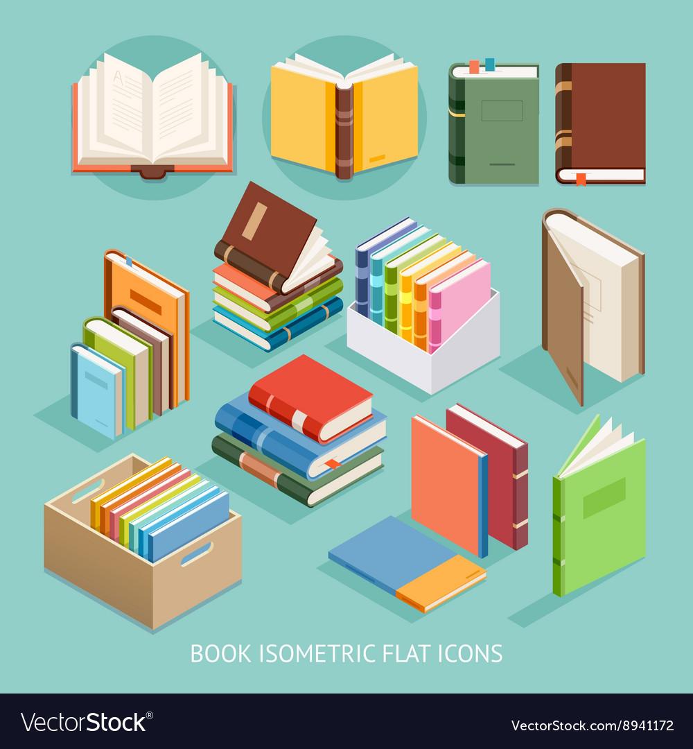 Book Isometric Flat Icons set