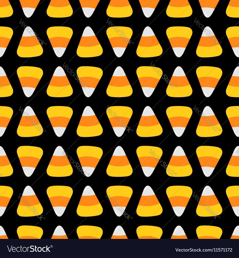 Candy corn happy halloween seamless pattern black