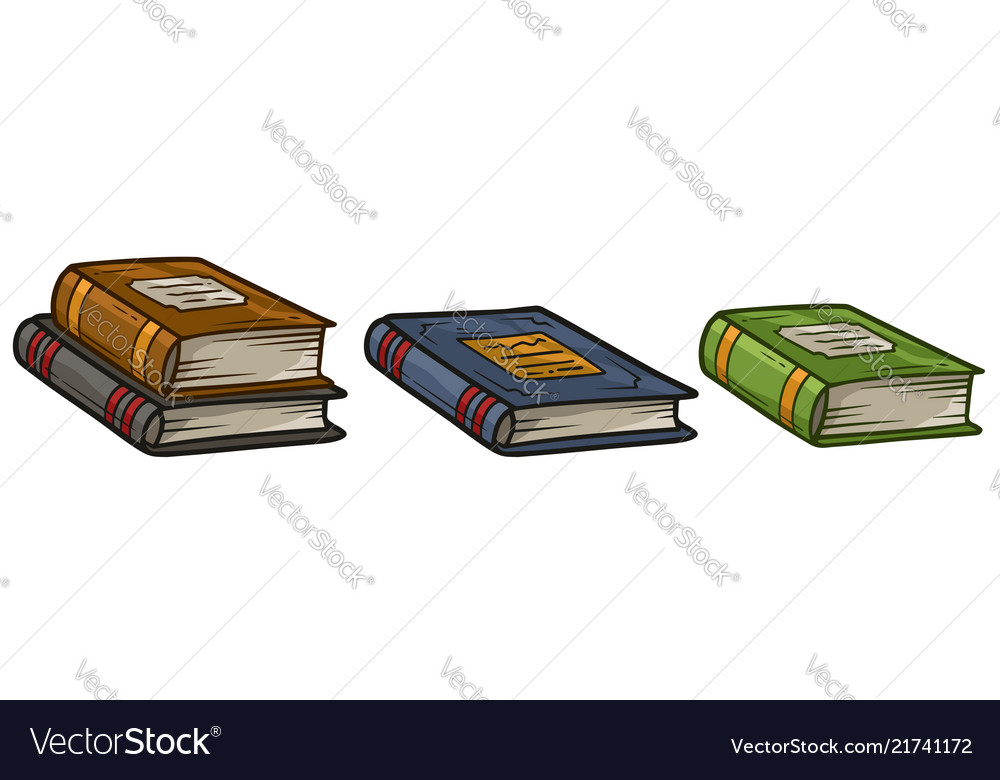 Cartoon old colorful book icon set