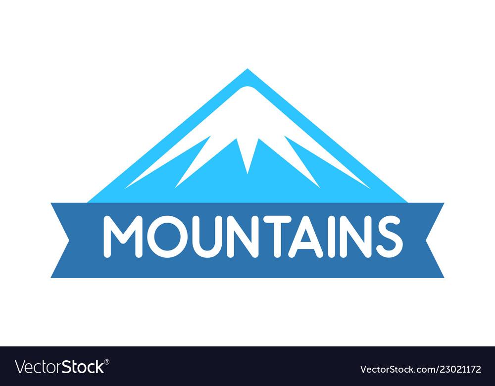 Emblem of mountains in blue color logo for