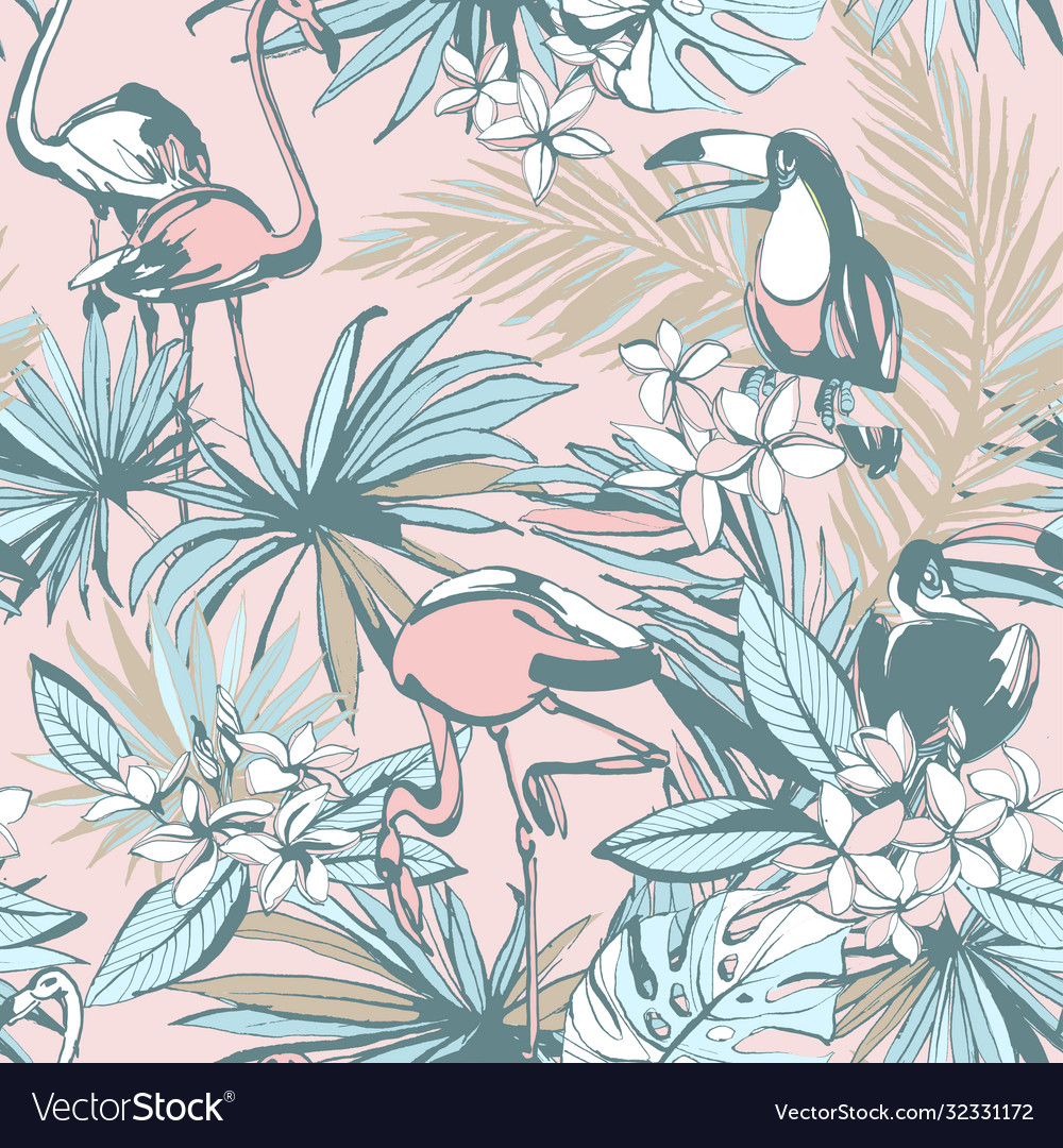 Hand drawn tropical seamless pattern ink palm