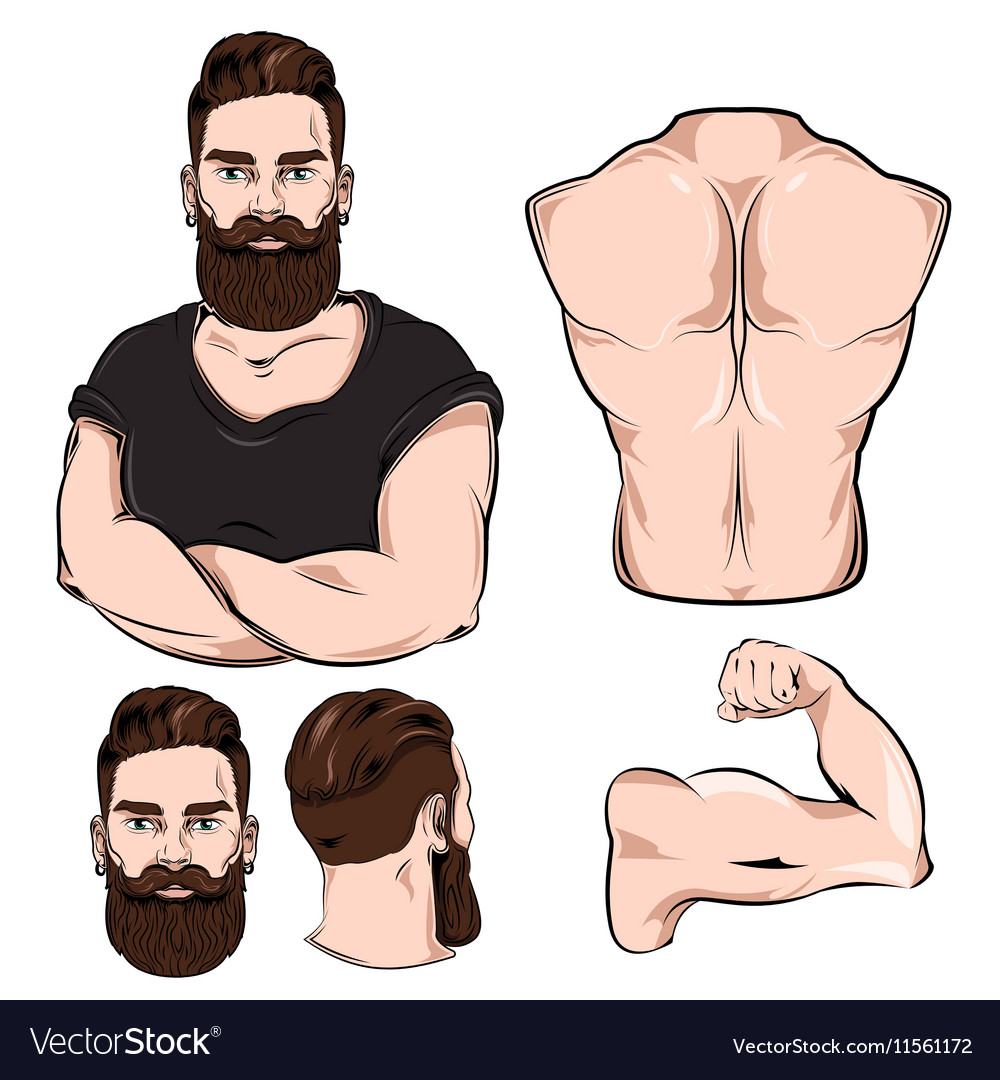 Male Body Parts For Tattoo Set Royalty Free Vector Image
