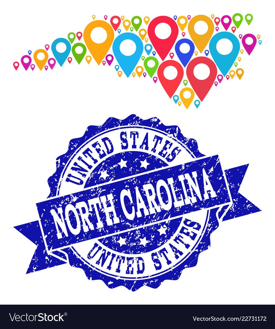 Mosaic map of north carolina state with map pins Vector Image