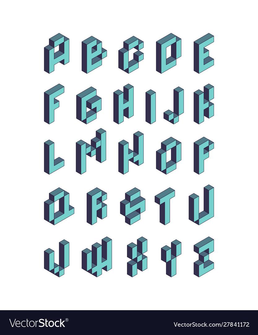 Pixel font isometric video game alphabet retro