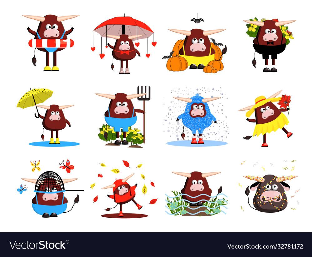 Set bulls characters 12 bulls oxen and cows