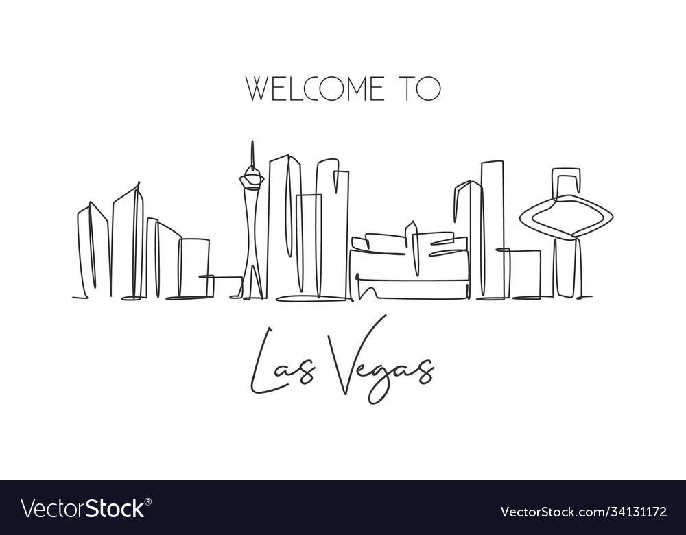 Single continuous line drawing las vegas city