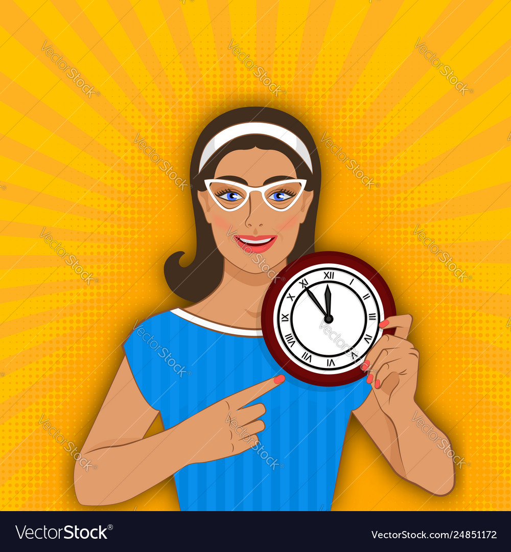 Smiling girl points at clock