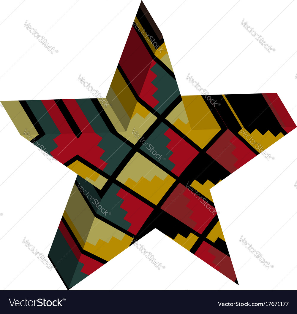 Abstract designed colorful star 3d vector image