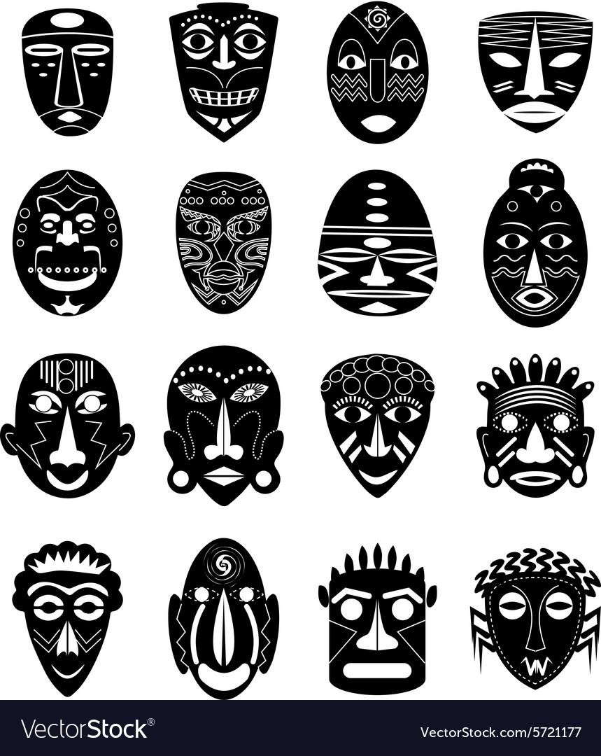 Africa tribal mask icons set