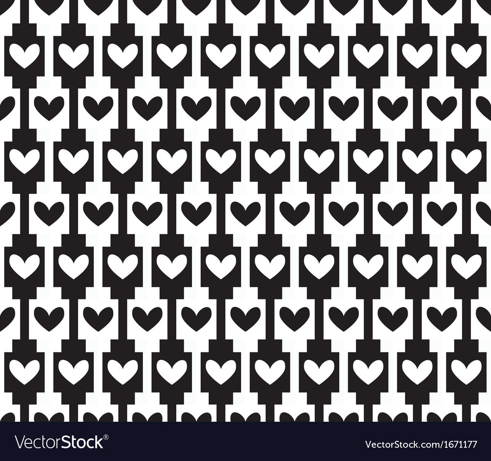 Black seamless background pattern with hearts