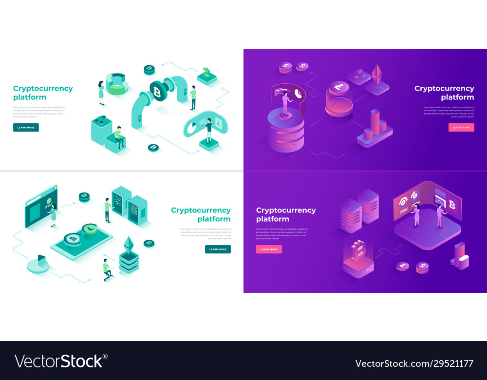 Cryptocurrency exchange and blockchain 3d