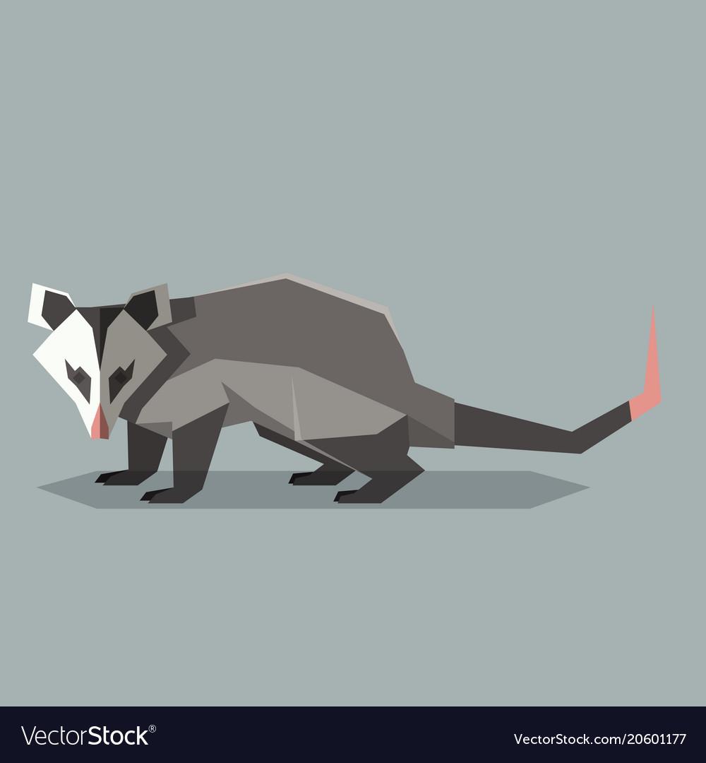 Flat polygonal opossum vector image