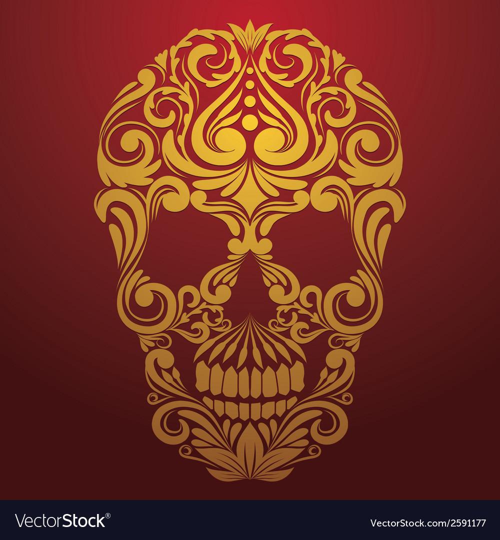 Gold Skull Ornamental vector image