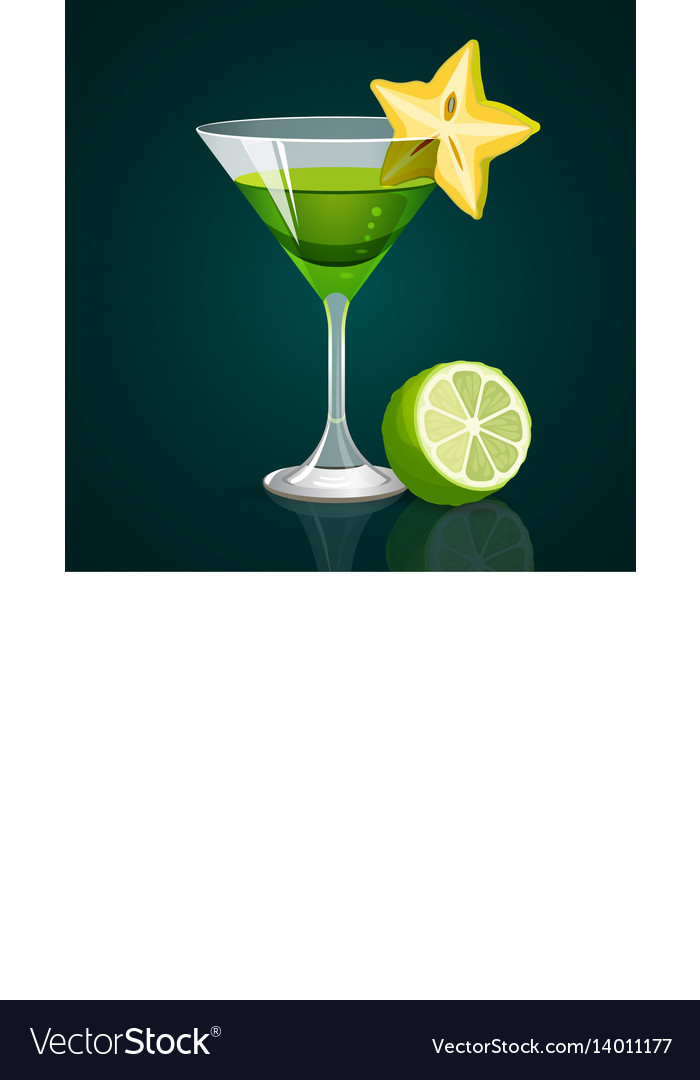 Green cocktail with lime part below on dark vector image