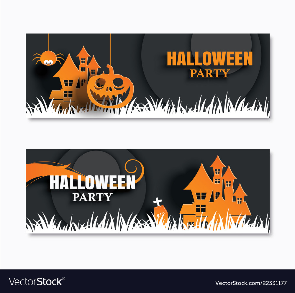 Halloween party invitations banner and greeting