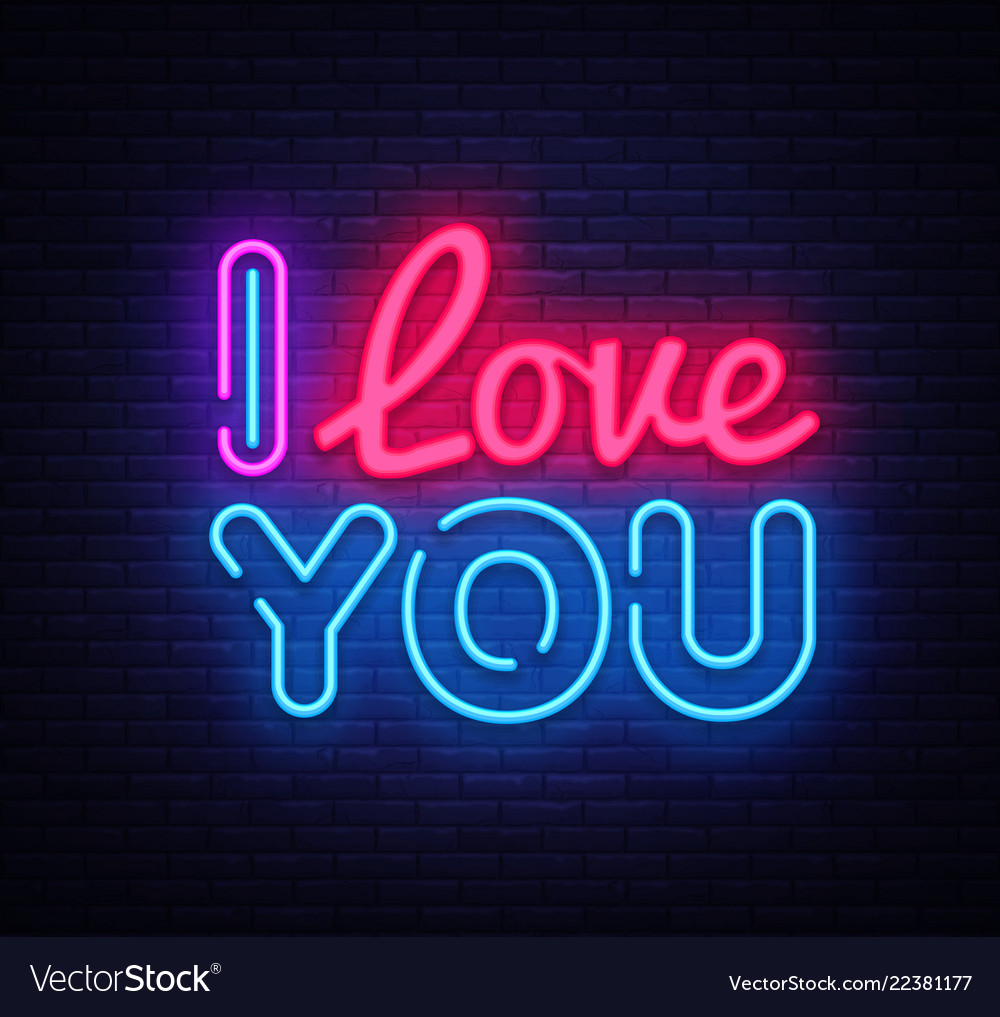 I love you neon sign love design template