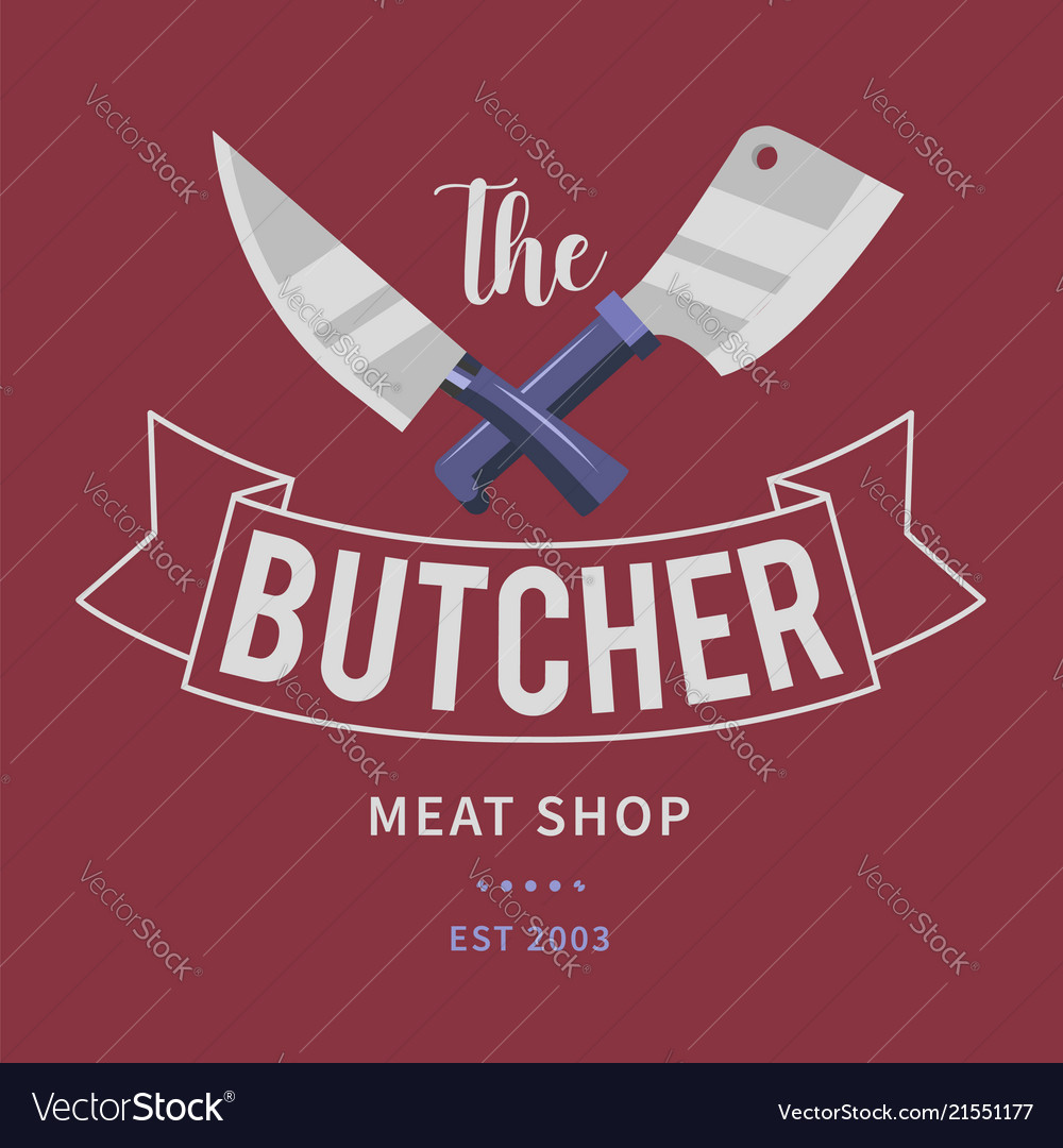 Logo of butcher meat shop with cleaver and chefs