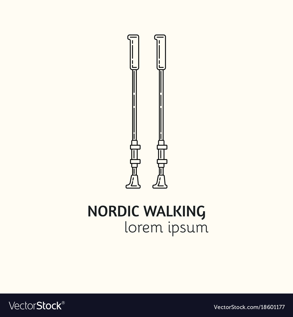 Modern linear style nordic walking logotype