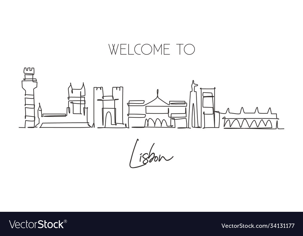One single line drawing lisbon city skyline vector