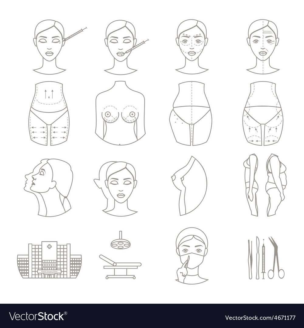 Plastic surgery sketch icons set