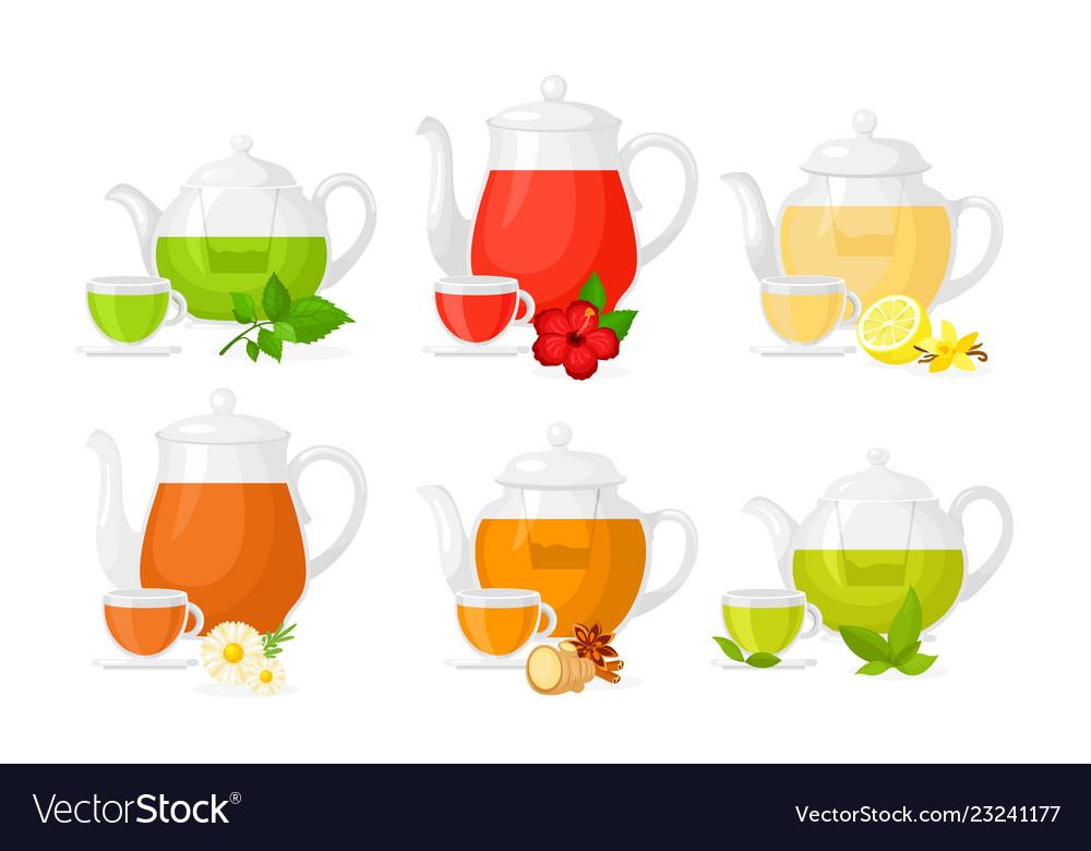 Set different types tea