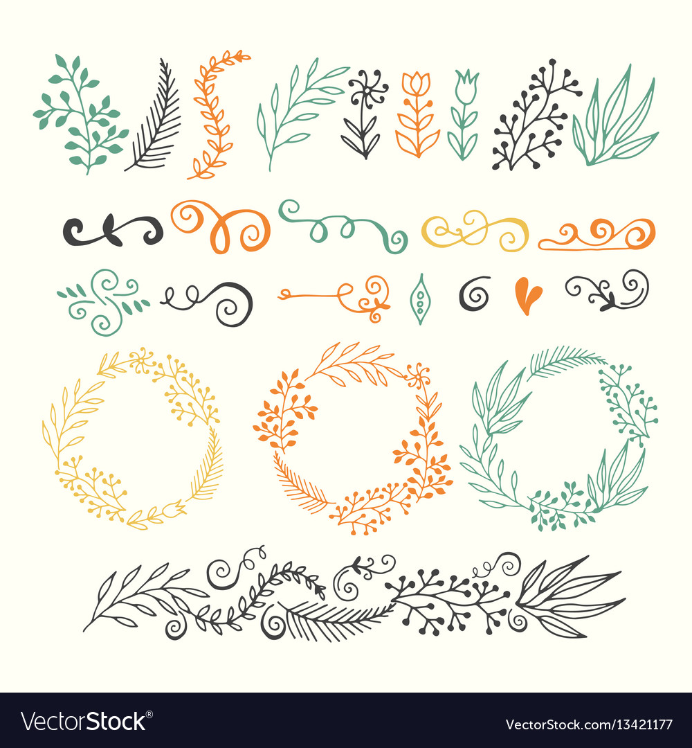 Set of design elements floral hand drawn