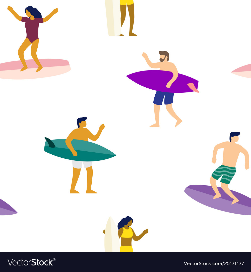 Surfers on surfboards in sea waves seamless