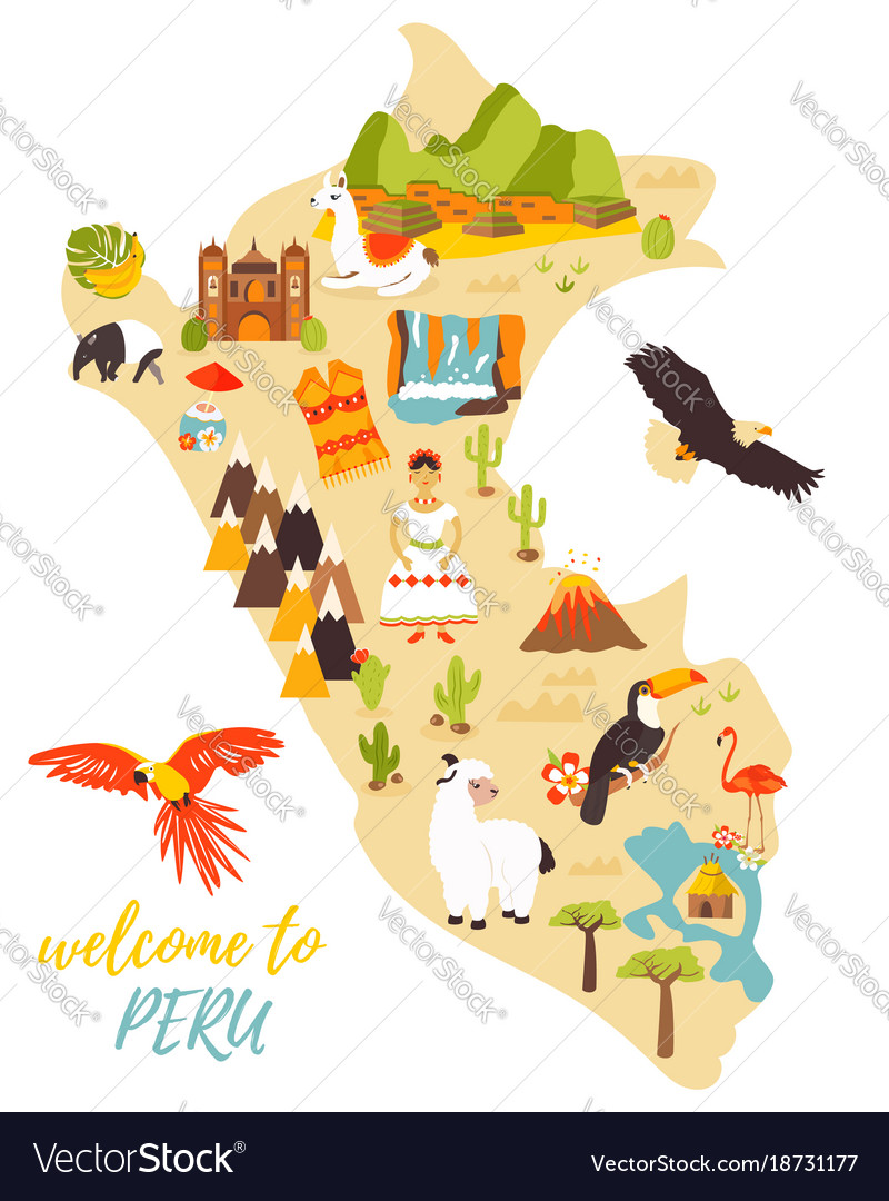 Tourist map of peru with different landmarks Vector Image