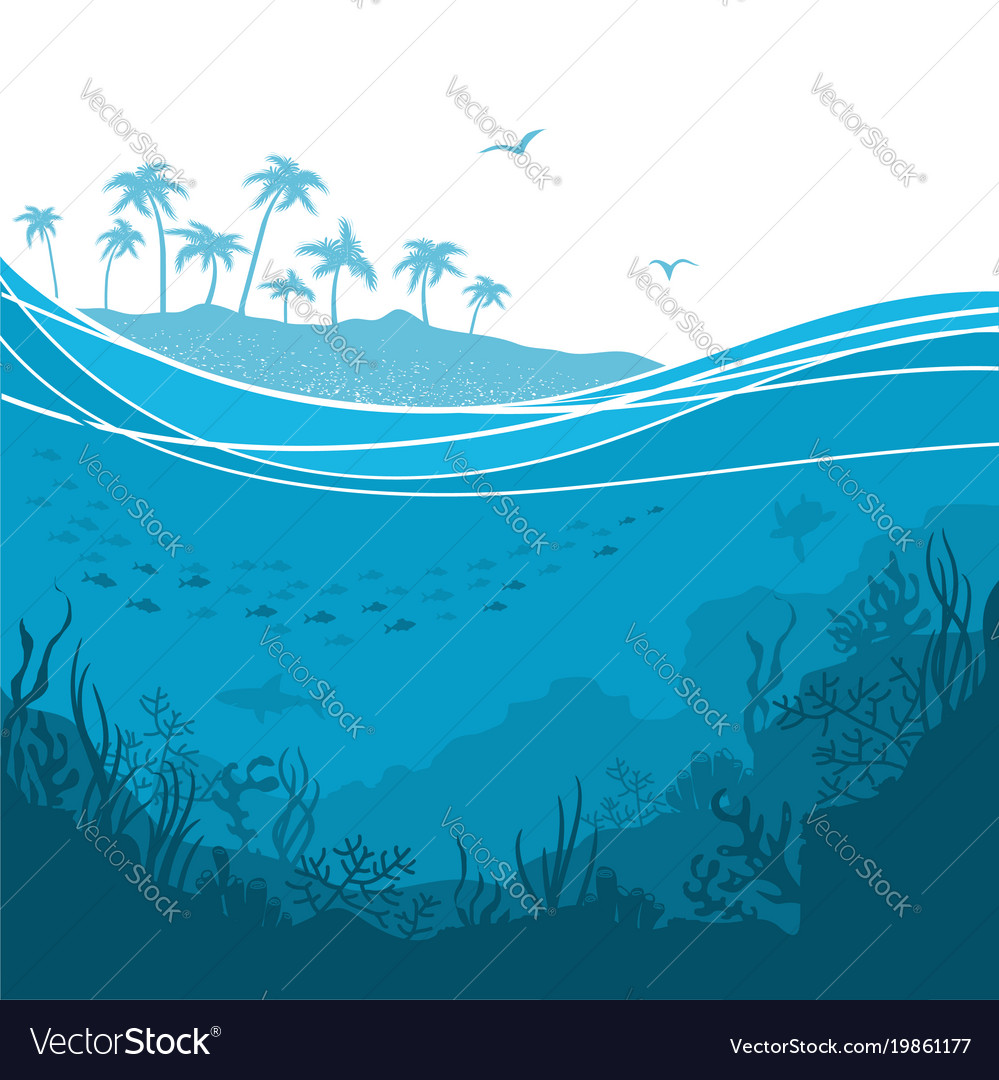 Underwater sea background with sea waves and