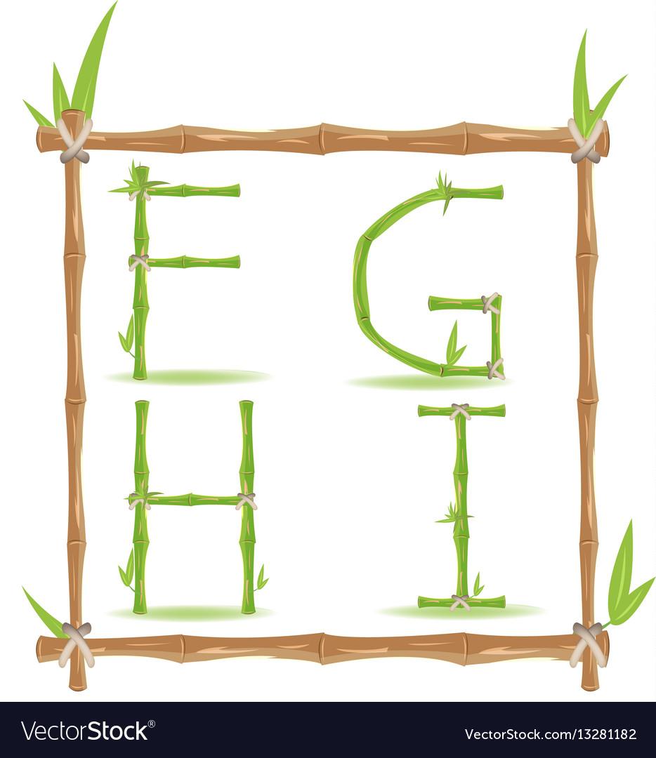 Bamboo letter alphabet green set b vector image