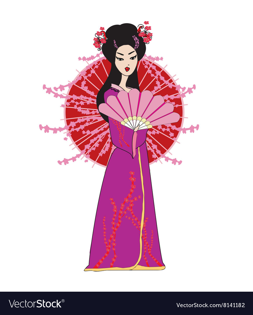 sc 1 st  VectorStock & Beautiful japanese geisha girl in kimono Vector Image