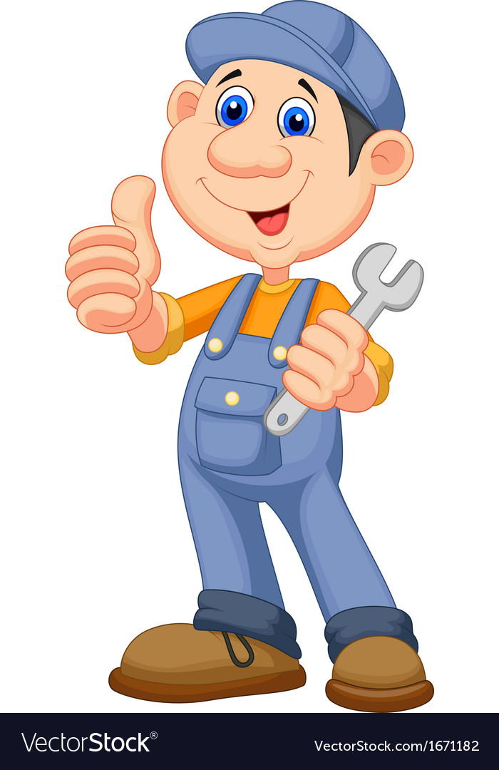 Cute mechanic cartoon holding wrench and giving th