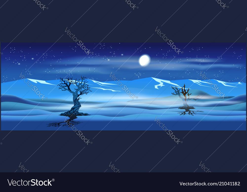 Deserted landscape at night