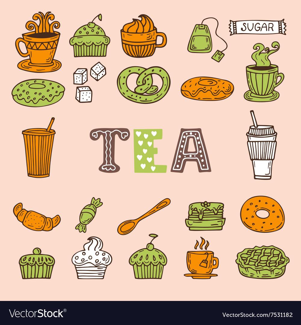 Hand drawn tea and desserts Tea time