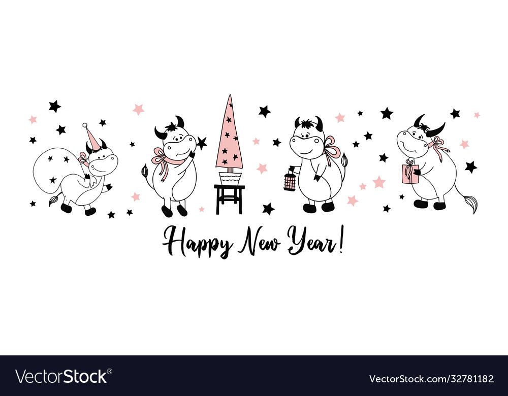 Happy new year postcard horizontal with bulls or