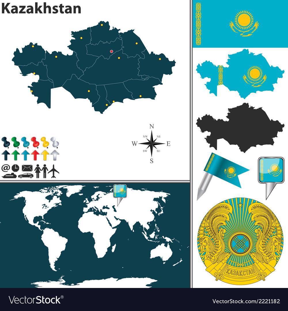 Kazakhstan Map Royalty Free Vector Image Vectorstock