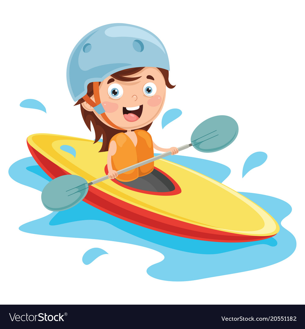 Kid Canoeing Vector Image