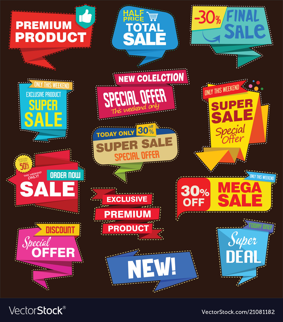 Modern origami sale stickers and tags colorful