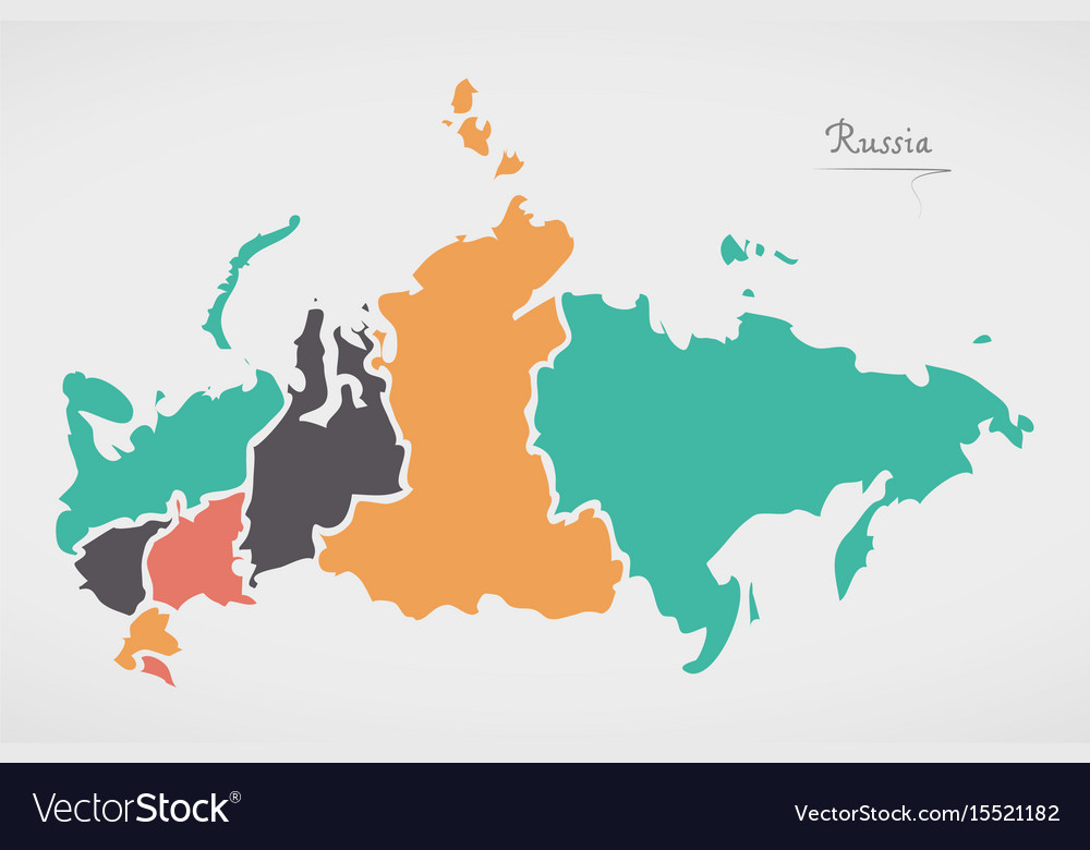 Russia Map With States And Modern Round Shapes Vector Image