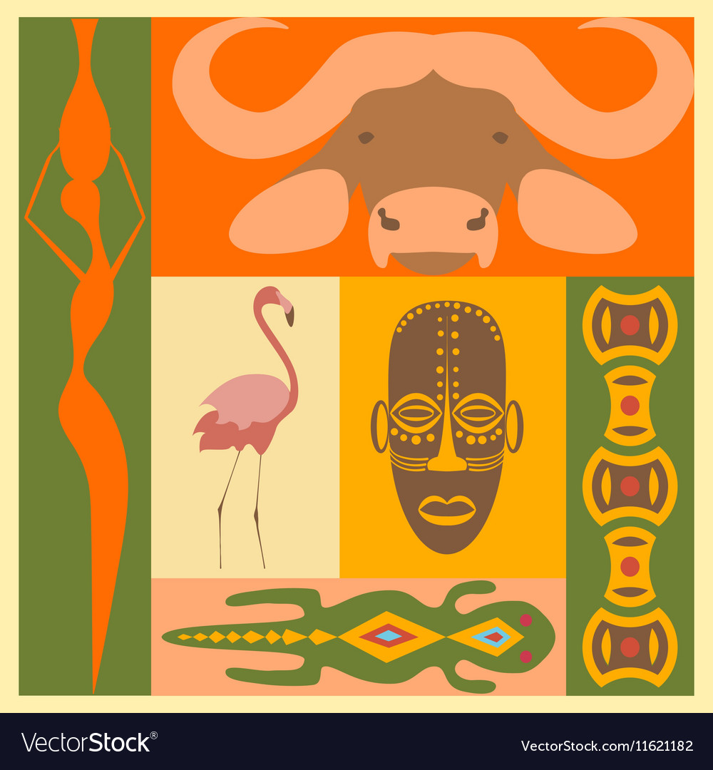 Set of African people animals and simbol elements vector image