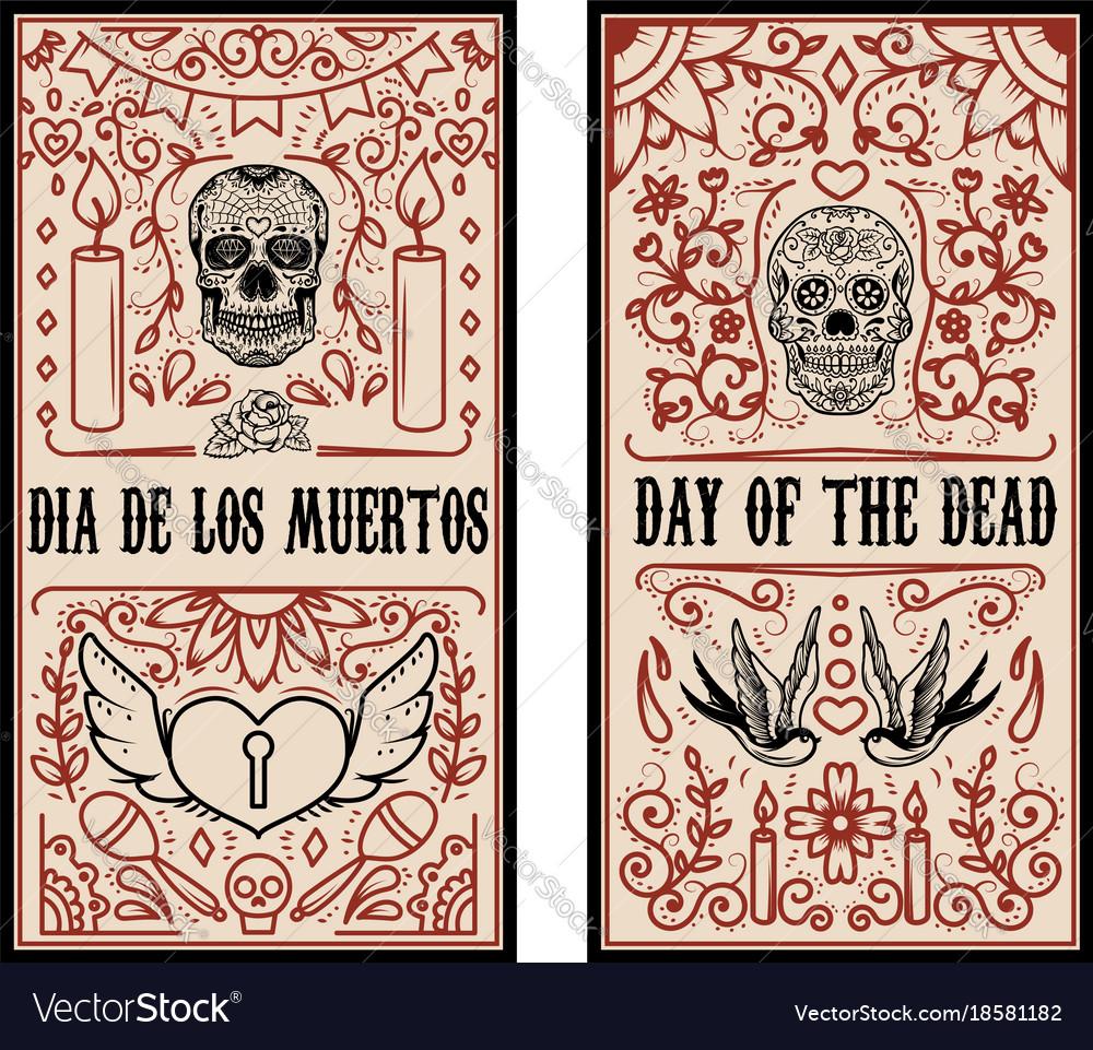 Set Of Dead Day Banner Template Sugar Skulls Vector Image