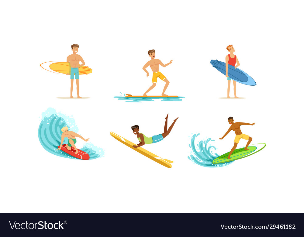 Surfing young men collection male surfers