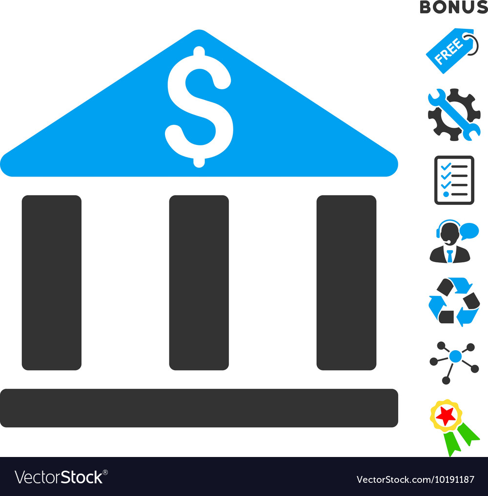 Bank Office Building Flat Icon With Bonus Vector Image