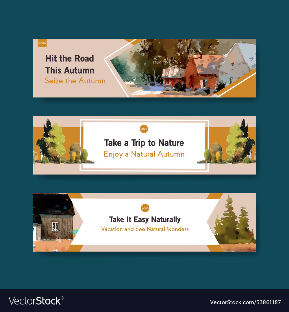 Banner template with landscape in autumn design