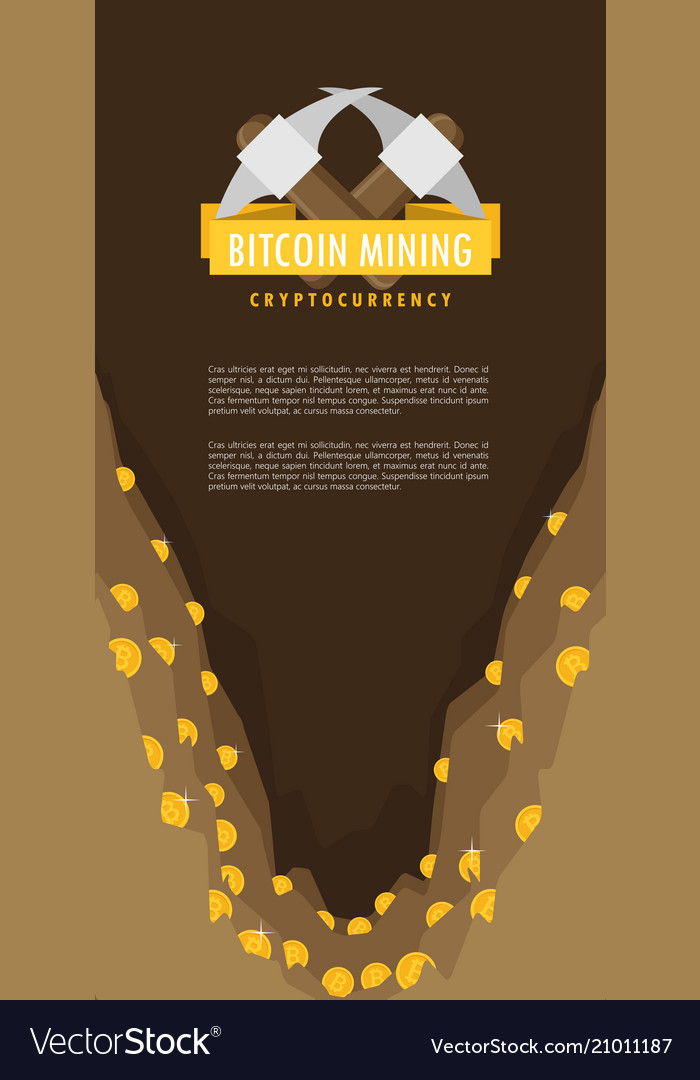 Bitcoin mining concept with pickaxe and coin flat