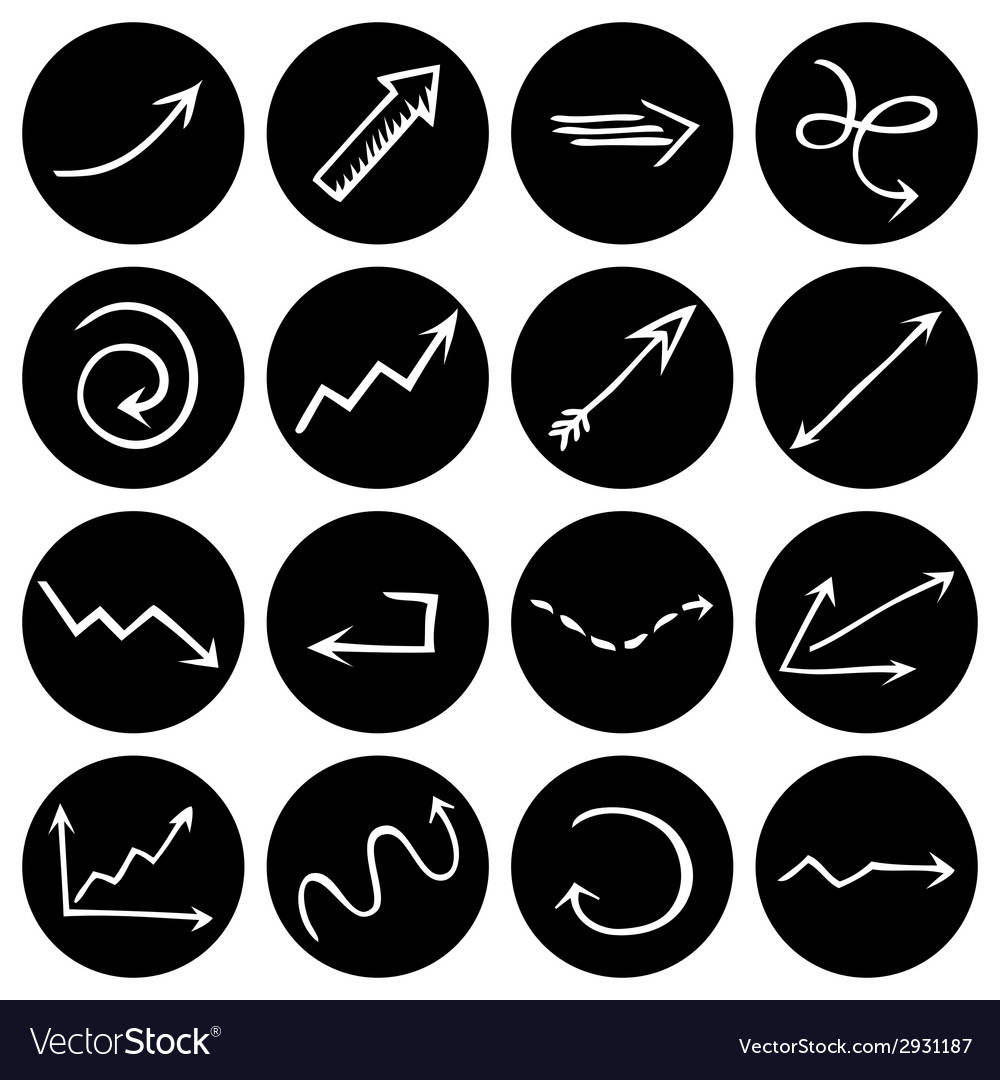 Black and white round pictograms