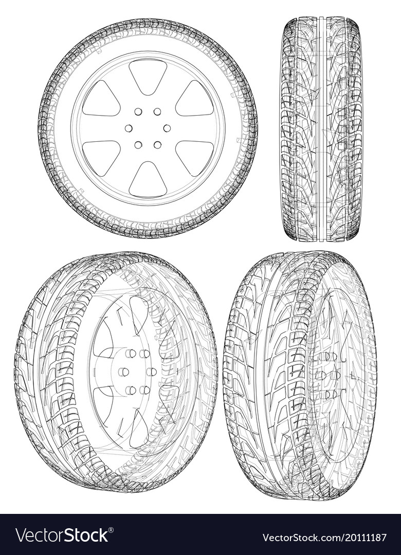 Good Car Or Truck Tire Drawing Outline Vector Image