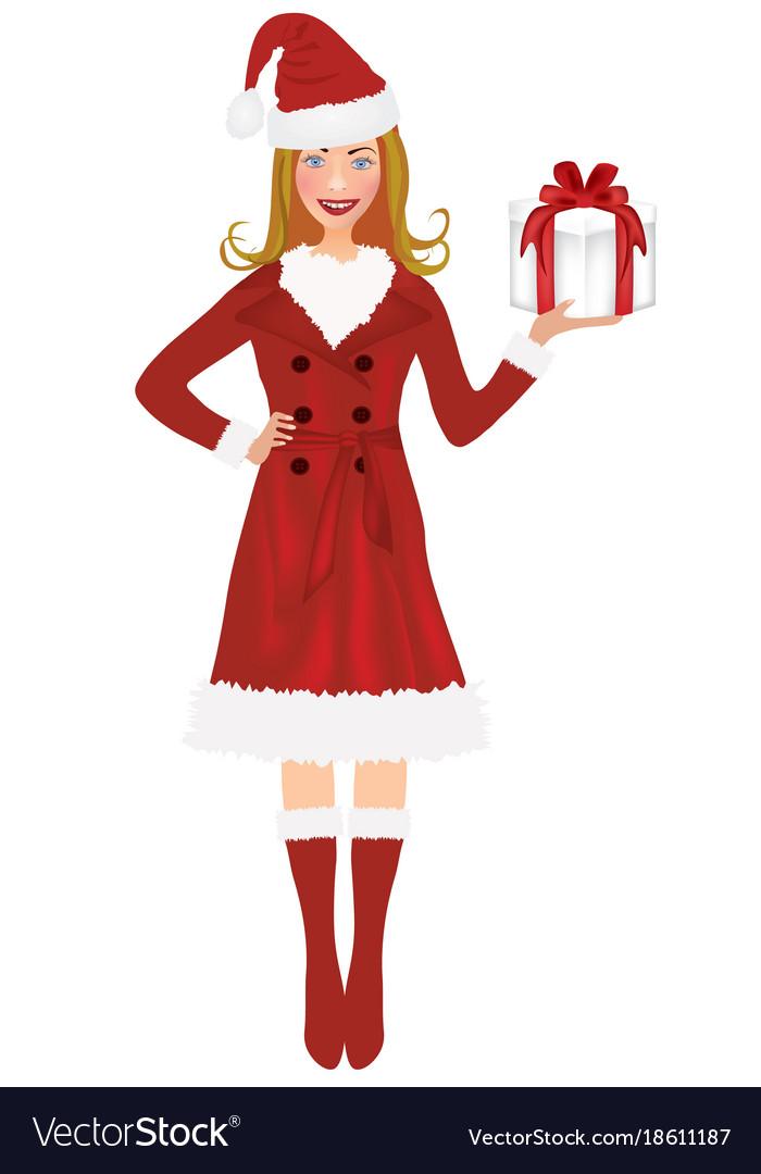 Christmas woman holding present